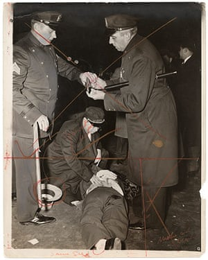 Weegee exhibition: Hold up man killed, by Weegee