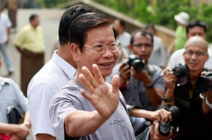 Burma prisoner released: Khin Nyunt talk to the media as he released from the house arrest