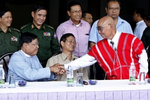 Burma prisoner released: press conference after the meeting for ceasefire in Pa-an