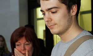 Richard O'Dwyer with his mother Julia after appearing at Westminster magistrates court in London