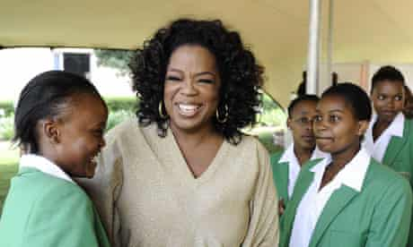 Oprah Winfrey celebrates with graduates