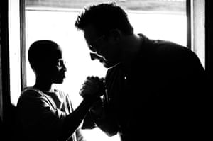 Bono in Ghana: Bono chats to a young boy