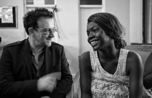 Bono visits Ghana: Bono meets an expectant mother during a visit to the Tema hospital in Accra