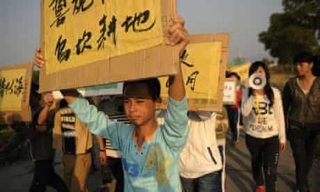 Residents of Wukan during the protest against illegal land grabs.