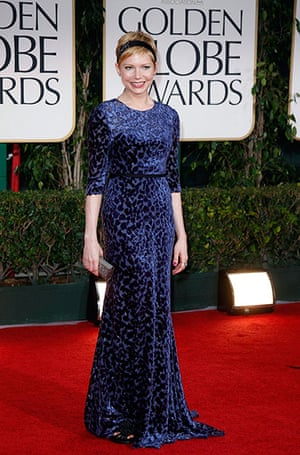 Golden Globes: Michelle Williams arrives at the 69th annual Golden Globe Awards