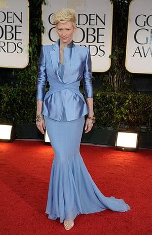 Golden Globes: Tilda Swinton arrives at the 69th Annual Golden Globe Awards