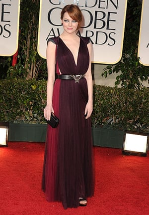 Golden Globes: Emma Stone arrives at the 69th Annual Golden Globe Awards