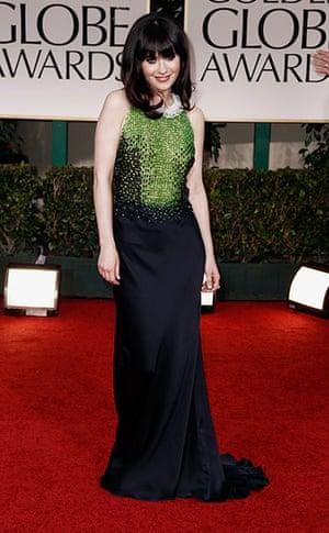 Golden Globes: Zooey Deschanel arrives at the 69th Annual Golden Globe Awards
