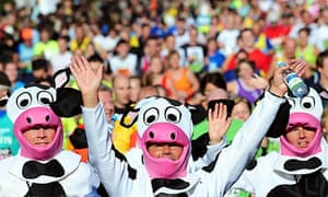 Competitors in fancy dress during the Great North Run in Newcastle
