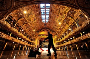 24 hours: Blackpool, England: An engineer for the ballroom polishes the floor