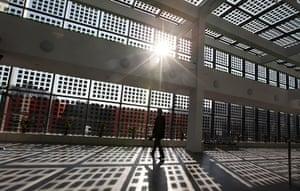 China environmental year: solar panel glass windows in the Sino-Singapore Tianjin Eco-city in Tianjin
