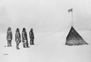 south pole expeditions: Amundsen, Oscar Wisting, Sverre Hassel and Helmer Hansen at the South Pole