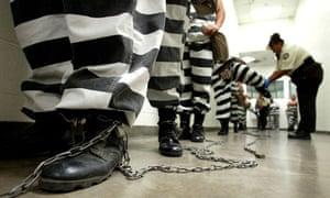 Maricopa County female inmates march for chain gang duty in Phoenix, Arizona
