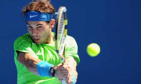 Rafael Nadal in action against Tommy Haas at the Australian Open