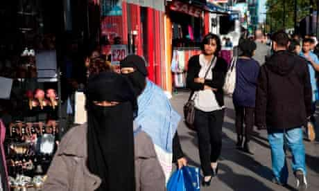 Women of Muslim background on Whitechapel High Street in East London.