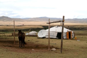 In pictures: contemporary: Mongolian animal-skin Ger with a satellite dish