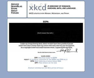SOPA web protests: xkcd blacks out in protest against SOPA on 17th January 2011