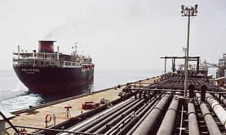 An oil tanker leaving the dock at Kharg island, Iran