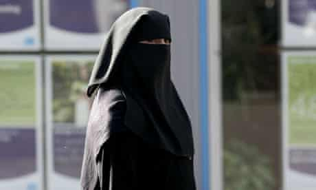 A Muslim woman wearing a veil in Blackburn