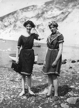 Kodak: August 1911: Two women enjoy a sunny day on the beach at Lulworth Cove