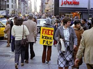 Kodak: 1980s: A 'Free Kodak Film' sandwich board in New York