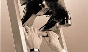 Men climbing corporate ladder close up