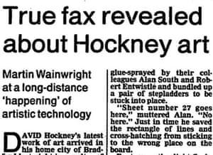 Hockney uses a fax