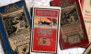 Vintage Ordnance Survey road maps