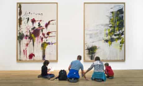 family in an art gallery