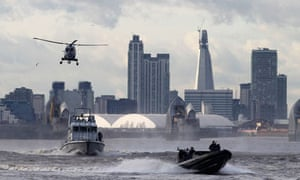 Metropolitan Police Marine Policing Unit and the Royal Marines performing an exercise on the Thames