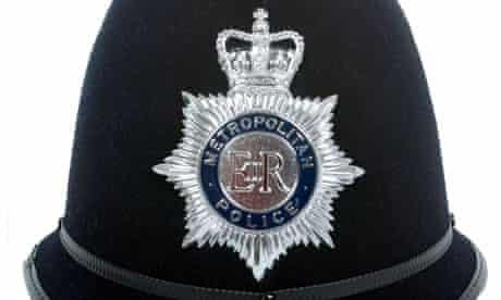 a cut out of a uk police helmet. Image shot 2008. Exact date unknown.