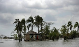 A house in south Bangladesh after cyclone Aila in 2009