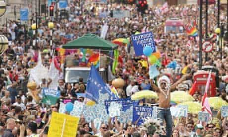 Gay pride parade through London