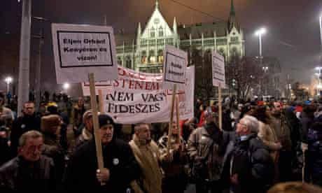 Opposition protest in Budapest, Hungary