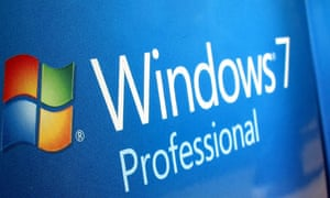 Windows 7 operating system software are shown for sale at a Microsoft retail store in San Diego