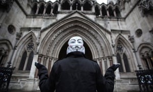 An Occupy London protester outside the high court