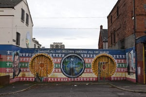 Peace Wall: The Peace Wall runs along Duncairn Gardens in the New Lodge Area of Belfast
