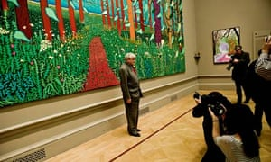 David Hockney at his exhibition at the Royal Academy