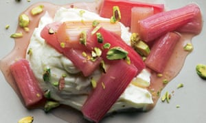 Yotam Ottolenghi's roasted rhubard with sweet labneh