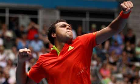 Jo-Wilfried Tsonga celebrates his Australian Open victory against Frederico Gul of Portugal.