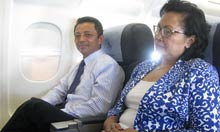 Marc Ravalomanana and his wife on the plane