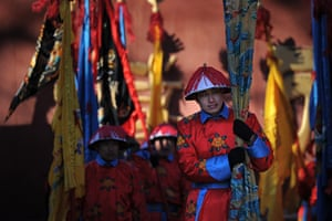 Chinese new year : A performer prepares to take part in a traditional Qing Dynasty ceremony