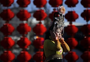 Chinese new year : A performer at the opening ceremony of a Spring Festival Temple Fair