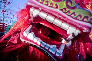 Chinese new year : An actor dressed in a lion costume looks out before performing in Beijing