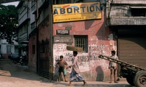 An abortion sign in Calcutta, India
