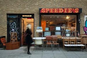 Redchurch Street: Exterior view of Speedies furniture shop