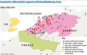Countries affected by Schmallenberg virus