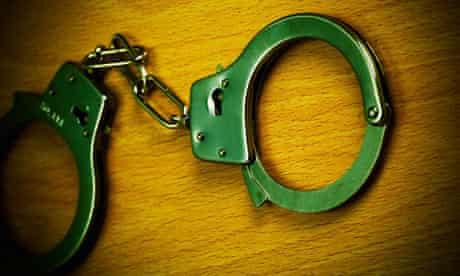 Close up of handcuffs.