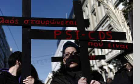 Greeks protest about debt talks