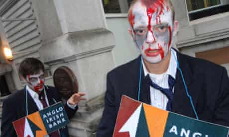 Protesters dressed as zombies demonstrate against Ireland's 'zombie banks'